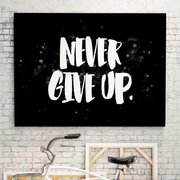 NEVER GIVE UP - Obraz na płótnie