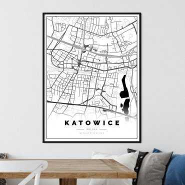 plakat z mapą katowic