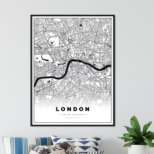 plakat z mapą londynu