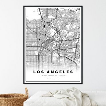 plakat z mapą los angeles