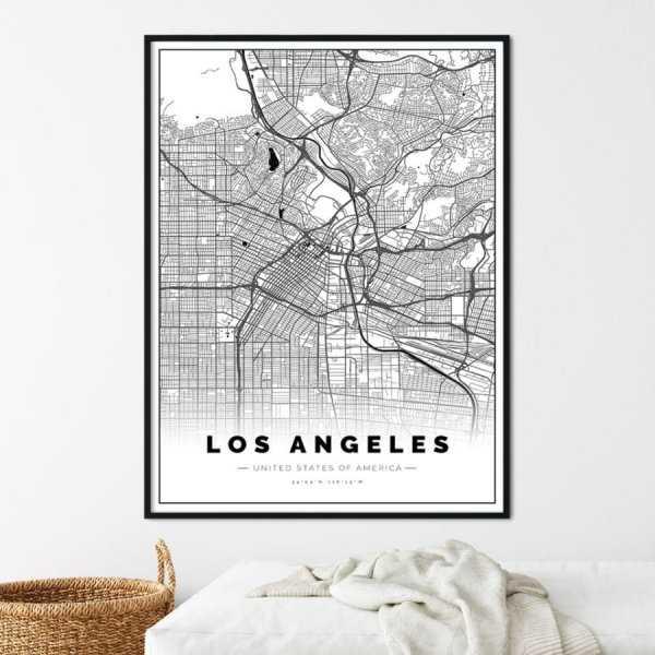 plakat z mapą los angeles