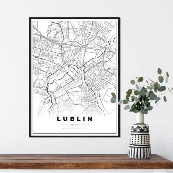 plakat z mapą Lublina