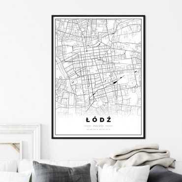 plakat z mapą Łodzi