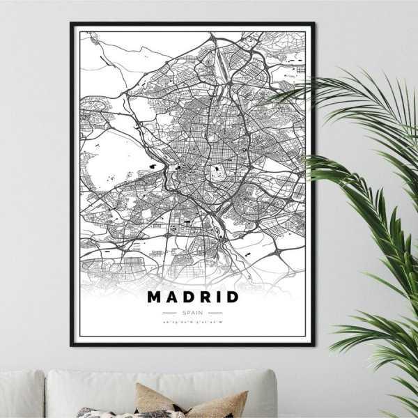 plakat z mapą madrytu