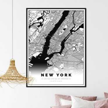 plakat z mapą nowego jorku