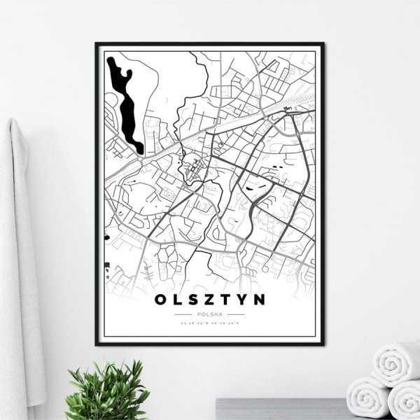 plakat z mapą Olsztyna