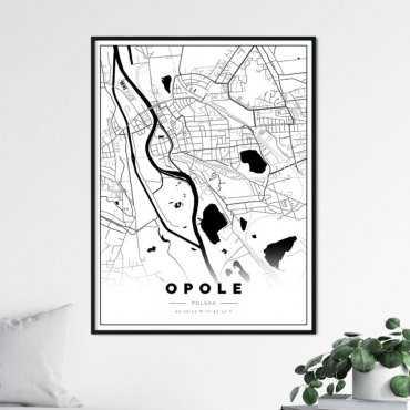 plakat z mapą Opola