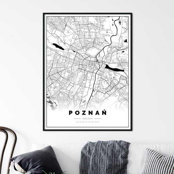 plakat z mapą Poznania