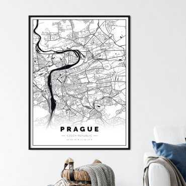 Plakat z mapą Pragi