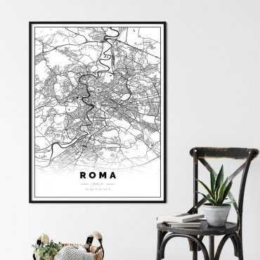 plakat w ramie z mapą Rzymu