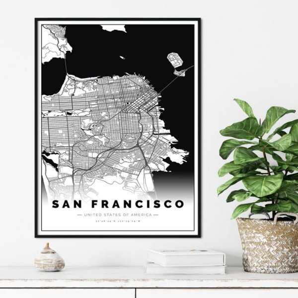 plakat z mapą san francisco