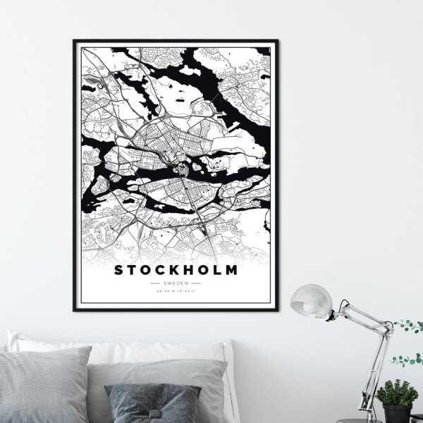 plakat z mapą Sztokholmu