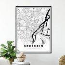 plakat z mapą Szczecina