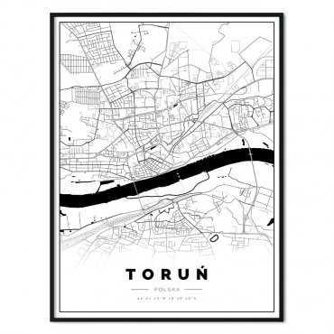 Plakat z mapą Torunia