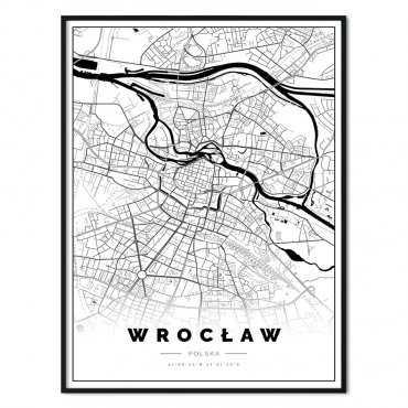 plakat z mapą Wrocławia