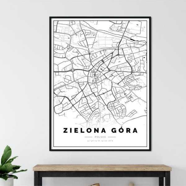 plakat z mapą Zielonej Góry