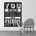 RESULTS OR EXCUSES - Obraz motywacyjny na płótnie