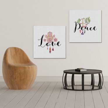 PEACE & LOVE - Komplet dwóch obrazów na płótnie