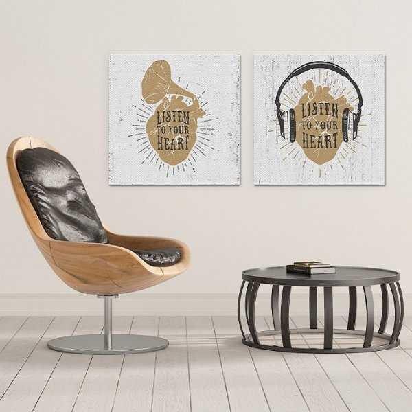 LISTEN TO YOUR HEART - Komplet dwóch obrazów na płótnie