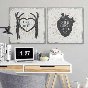 LOVE DESIGN - Komplet dwóch obrazów na płótnie