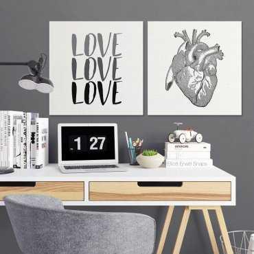 HEART DESIGN - Komplet dwóch obrazów na płótnie