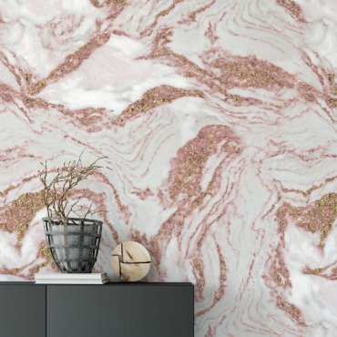 tapeta marble rose gold