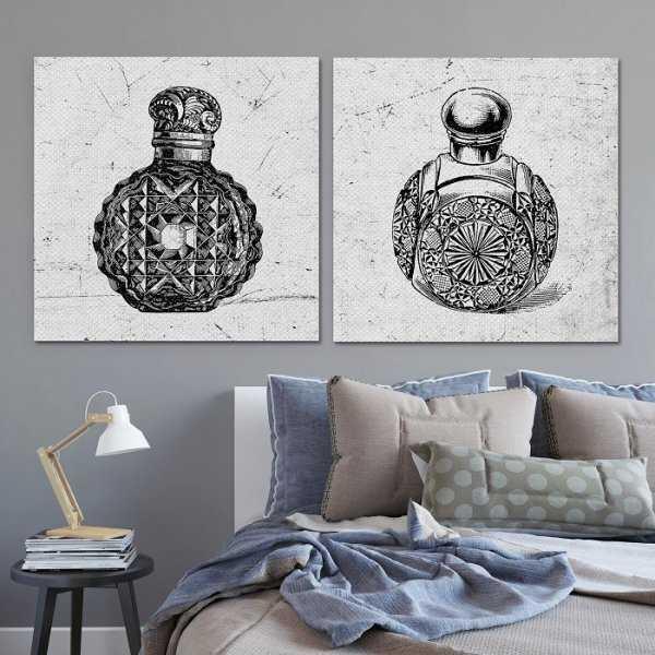 VINTAGE PERFUME - Komplet dwóch obrazów na płótnie