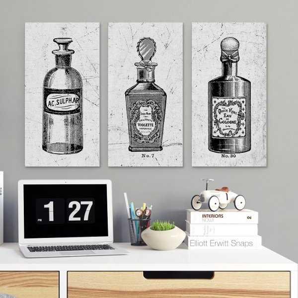 VINTAGE PERFUME - Komplet trzech obrazów na płótnie