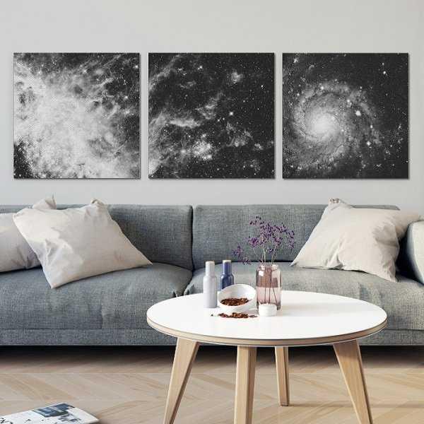 DARK GALAXY - Komplet trzech obrazów na płótnie