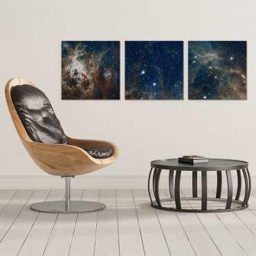 GALAXY ART - Komplet trzech obrazów na płótnie