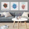 LOVE COLOR - Komplet trzech obrazów na płótnie