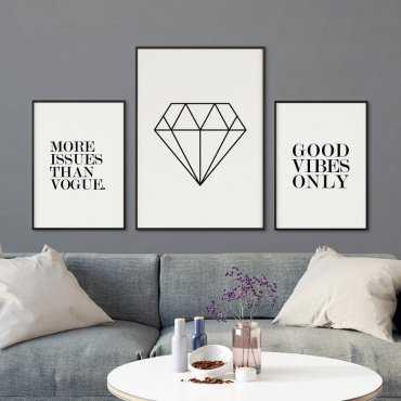 CLASSIC DIAMOND - Komplet trzech plakatów w ramach