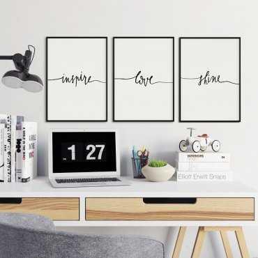 MINIMALISM ART - Komplet trzech plakatów w ramach