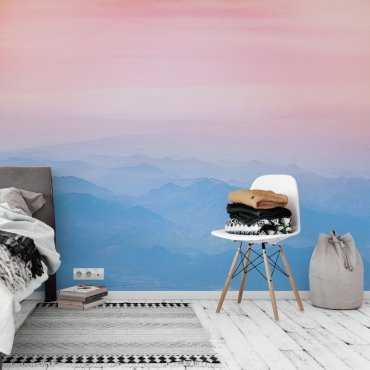tapeta pink-blue mountains