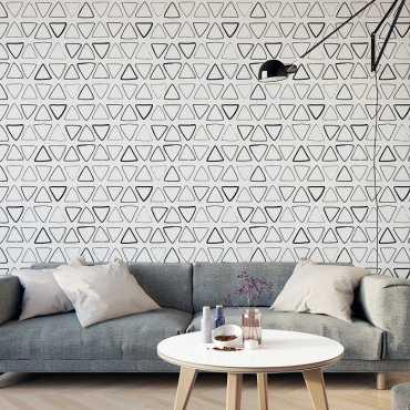 RYSOWANE TRÓJKĄTY - Tapeta na ścianę