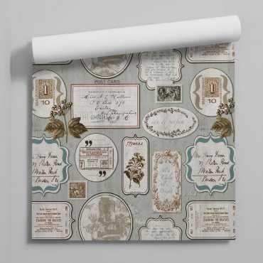 tapeta vintage postcards