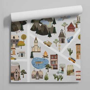 tapeta city map art