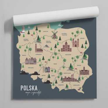 tapeta mapa polskich wojewodztw