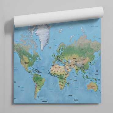 Tapeta mapa fizyczna świata
