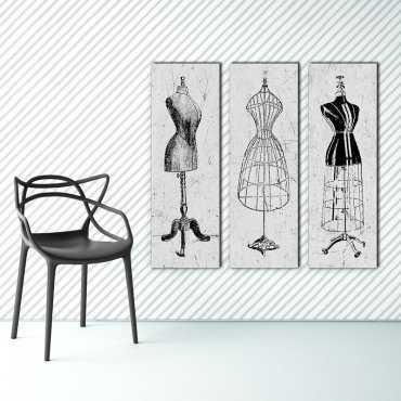 VINTAGE MANNEQUIN - Trzy modne obrazy na płótnie