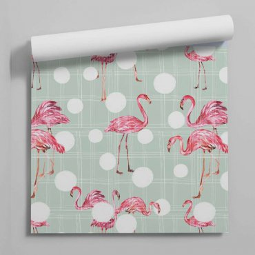 tapeta flamingo dots