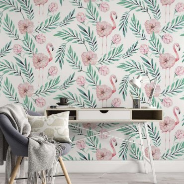 tapeta flamingo greenery
