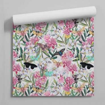 tapeta flora butterflies