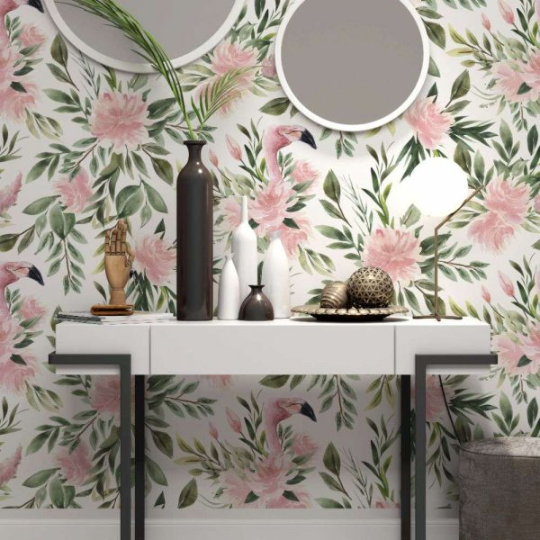 tapeta floral flamingos