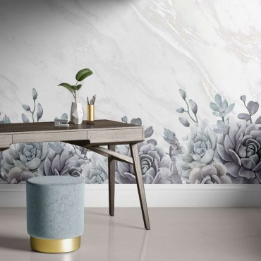 tapeta flowers on marble