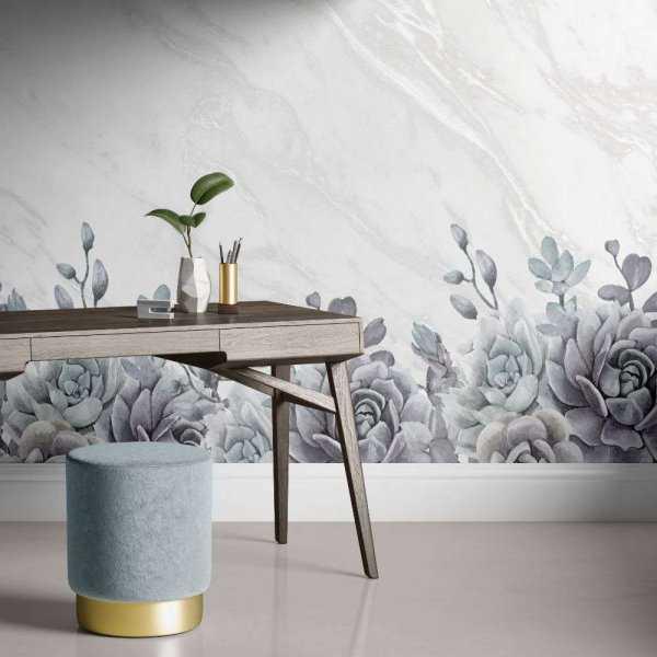 tapeta flowers on marble