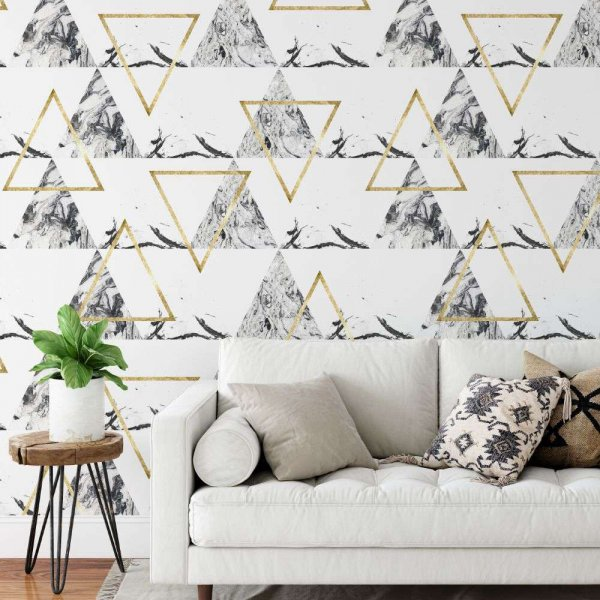 tapeta marble golden triangle