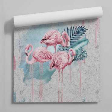 tapeta painty flamingos