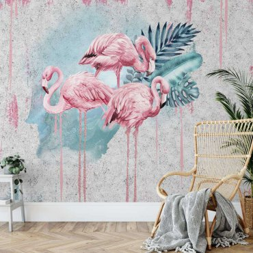 tapeta painty flamingos