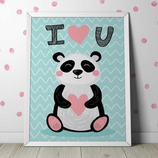 """PANDA """"I LOVE YOU"""" - Plakat dla dzieci"""